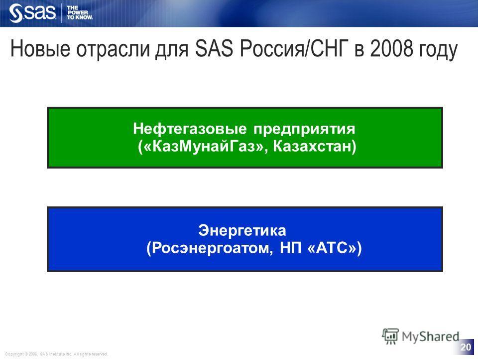 Copyright © 2006, SAS Institute Inc. All rights reserved. 20 Новые отрасли для SAS Россия/СНГ в 2008 году Нефтегазовые предприятия («КазМунайГаз», Казахстан) Энергетика (Росэнергоатом, НП «АТС»)