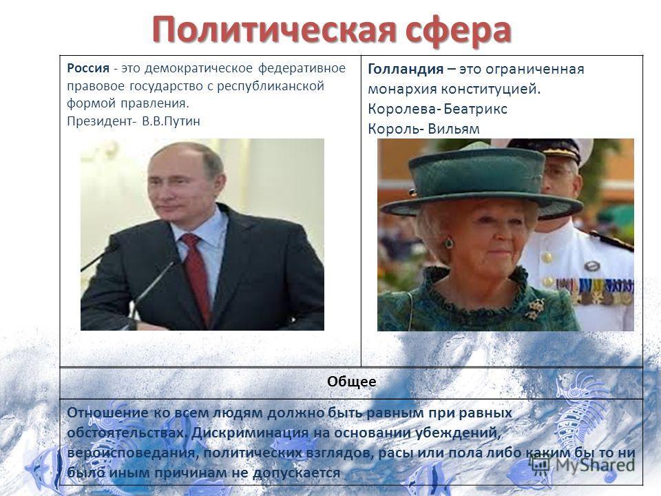 Политическая сфера Россия - это демократическое федеративное правовое государство с республиканской формой правления. Президент- В.В.Путин Голландия – это ограниченная монархия конституцией. Королева- Беатрикс Король- Вильям Общее Отношение ко всем л