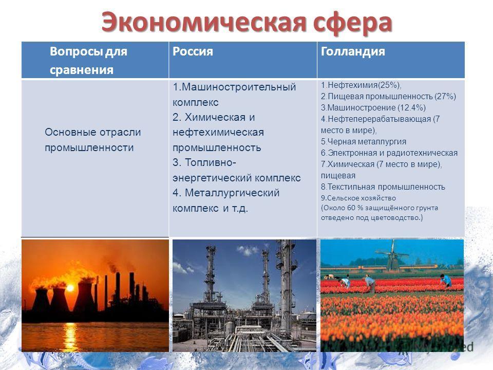 Экономическая сфера Вопросы для сравнения РоссияГолландия Основные отрасли промышленности 1.Машиностроительный комплекс 2. Химическая и нефтехимическая промышленность 3. Топливно- энергетический комплекс 4. Металлургический комплекс и т.д. 1.Нефтехим