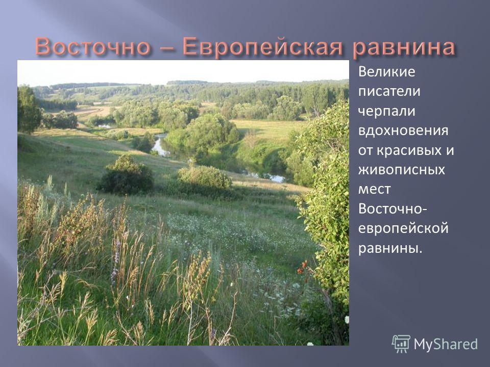 Великие писатели черпали вдохновения от красивых и живописных мест Восточно- европейской равнины.