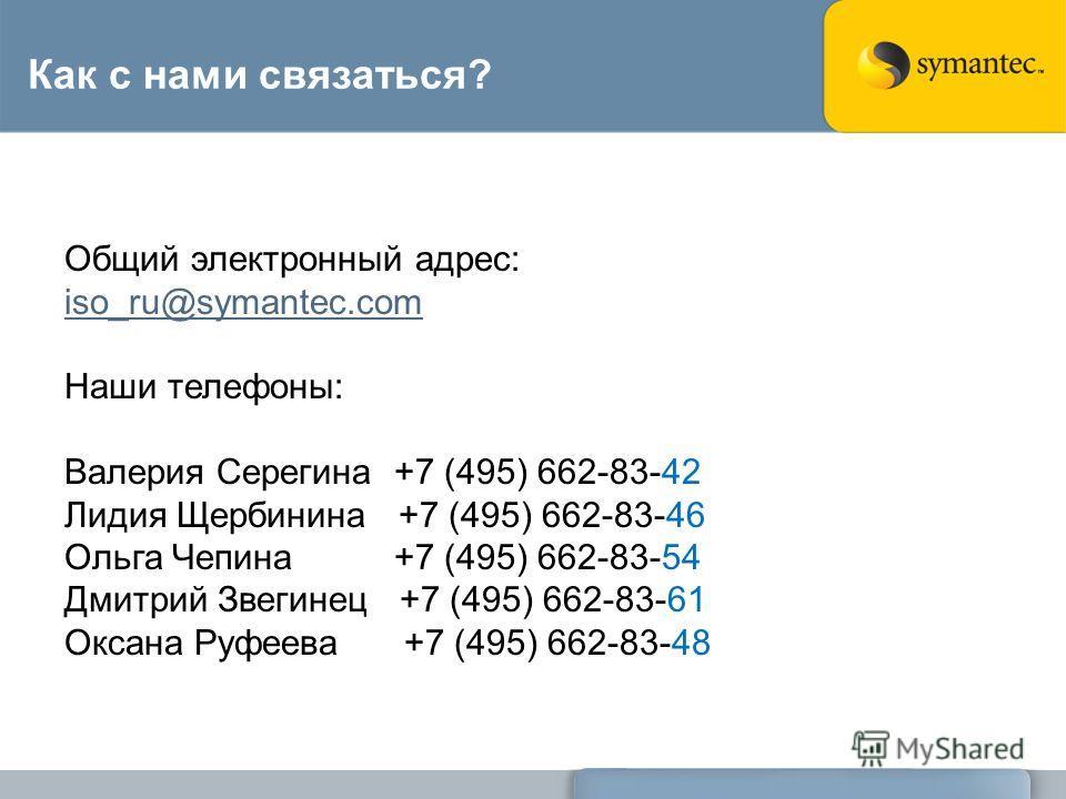 Как с нами связаться? Общий электронный адрес: iso_ru@symantec.com Наши телефоны: Валерия Серегина +7 (495) 662-83-42 Лидия Щербинина +7 (495) 662-83-46 Ольга Чепина +7 (495) 662-83-54 Дмитрий Звегинец +7 (495) 662-83-61 Оксана Руфеева +7 (495) 662-8