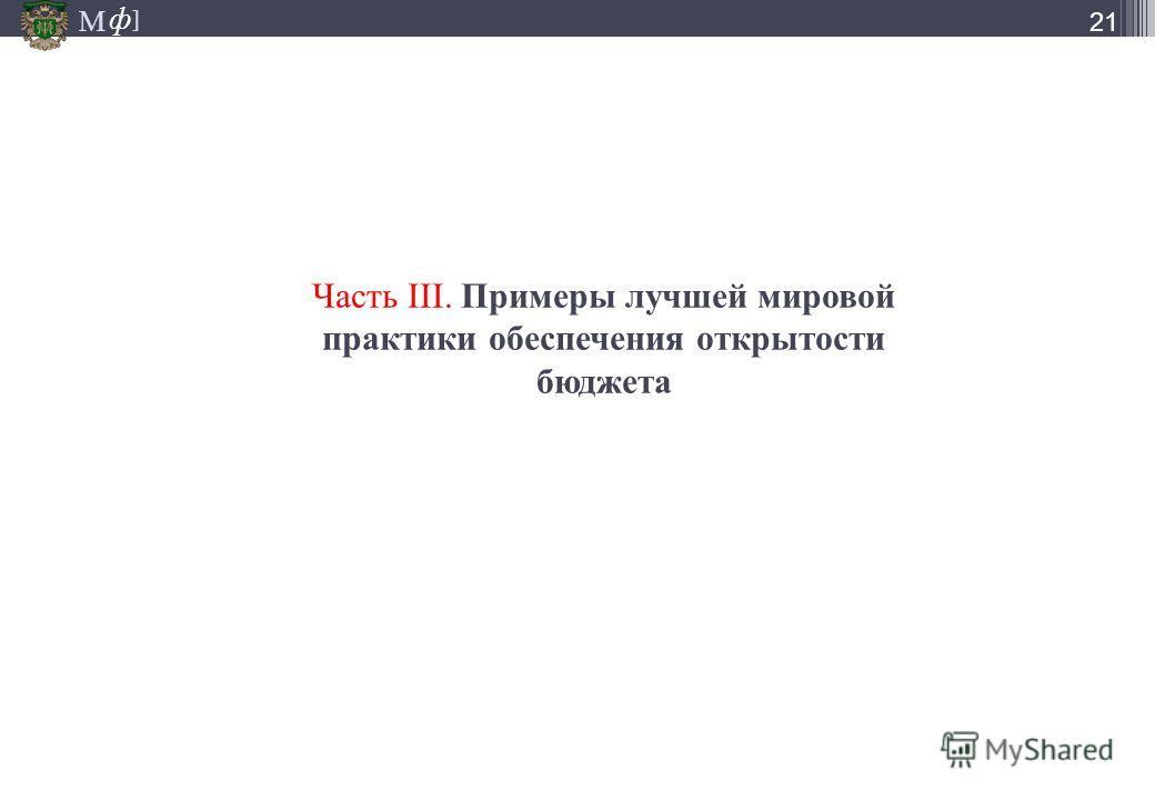 М ] ф М ] ф 21 Часть III. Примеры лучшей мировой практики обеспечения открытости бюджета