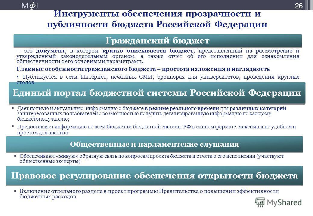 М ] ф М ] ф 26 Инструменты обеспечения прозрачности и публичности бюджета Российской Федерации Дает полную и актуальную информацию о бюджете в режиме реального времени для различных категорий заинтересованных пользователей с возможностью получить дет