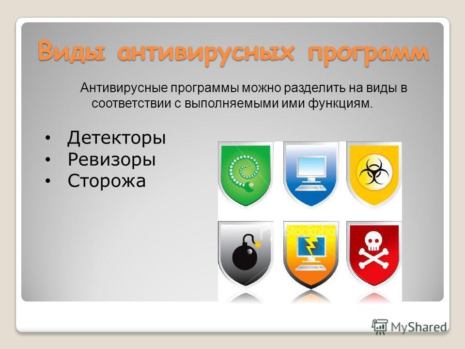 Виды антивирусных программ Антивирусные программы можно разделить на виды в соответствии с выполняемыми ими функциям. Детекторы Ревизоры Сторожа