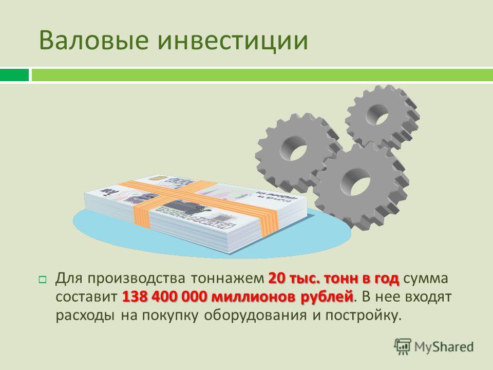 Валовые инвестиции 20 тыс. тонн в год 138 400 000 миллионов рублей Для производства тоннажем 20 тыс. тонн в год сумма составит 138 400 000 миллионов рублей. В нее входят расходы на покупку оборудования и постройку.