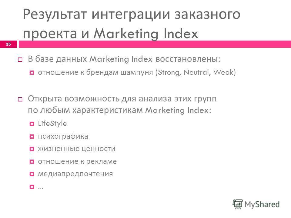 В базе данных Marketing Index восстановлены : отношение к брендам шампуня (Strong, Neutral, Weak) Открыта возможность для анализа этих групп по любым характеристикам Marketing Index: LifeStyle психографика жизненные ценности отношение к рекламе медиа