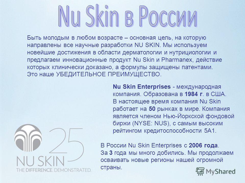Быть молодым в любом возрасте – основная цель, на которую направлены все научные разработки NU SKIN. Мы используем новейшие достижения в области дерматологии и нутрициологии и предлагаем инновационные продукт Nu Skin и Pharmanex, действие которых кли