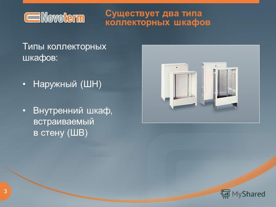 3 Существует два типа коллекторных шкафов Типы коллекторных шкафов: Наружный (ШН) Внутренний шкаф, встраиваемый в стену (ШВ)