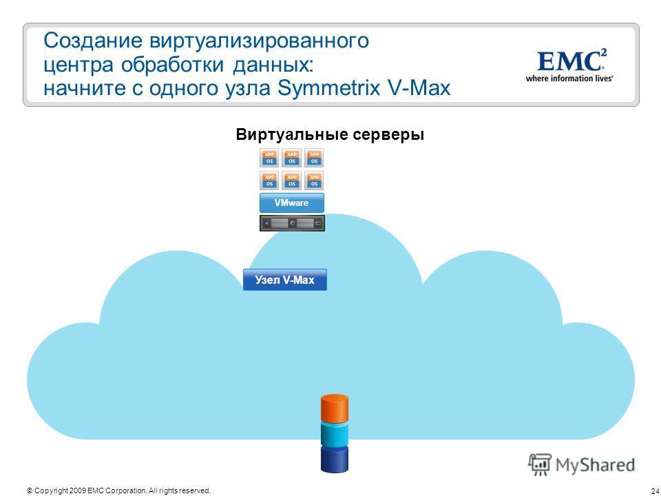 24 © Copyright 2009 EMC Corporation. All rights reserved. Создание виртуализированного центра обработки данных: начните с одного узла Symmetrix V-Max Виртуальные серверы Узел V-Max VMware