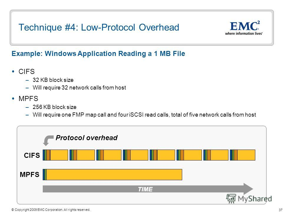 37 © Copyright 2009 EMC Corporation. All rights reserved. Technique #4: Low-Protocol Overhead CIFS –32 KB block size –Will require 32 network calls from host MPFS –256 KB block size –Will require one FMP map call and four iSCSI read calls, total of f