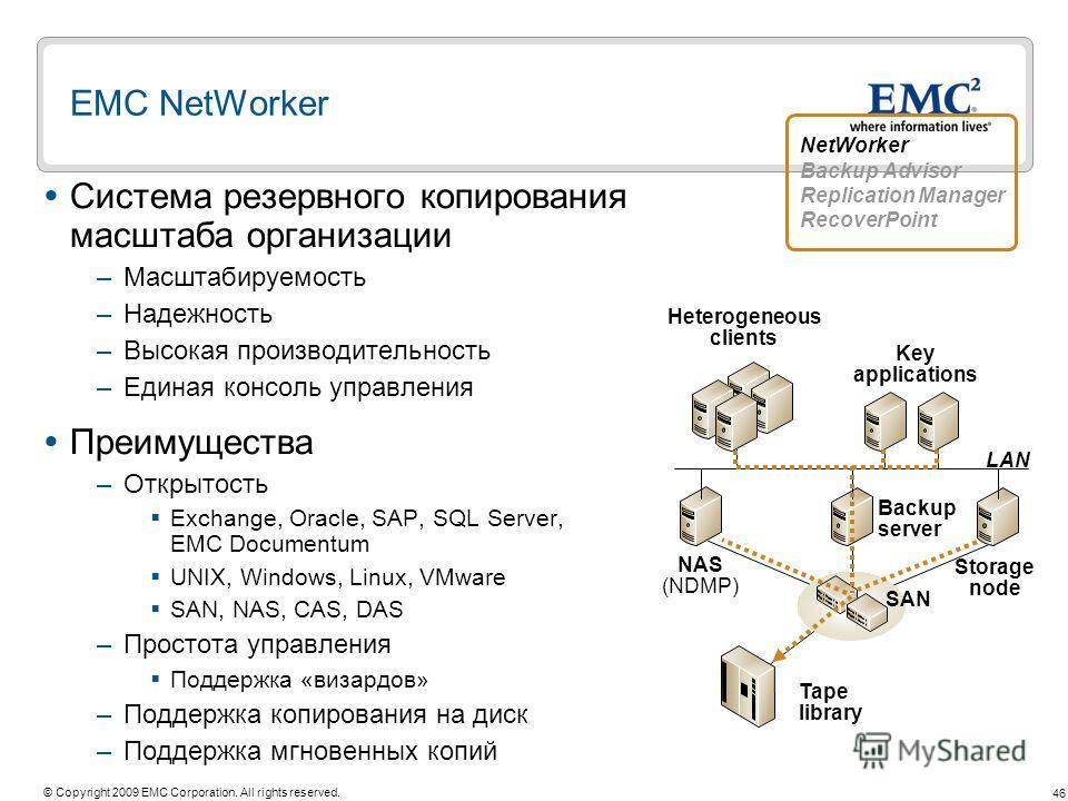 46 © Copyright 2009 EMC Corporation. All rights reserved. EMC NetWorker Система резервного копирования масштаба организации –Масштабируемость –Надежность –Высокая производительность –Единая консоль управления Преимущества –Открытость Exchange, Oracle