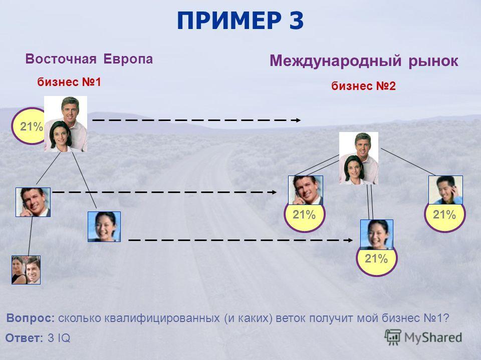 бизнес 1 ПРИМЕР 3 Восточная Европа Международный рынок бизнес 2 21% Вопрос: сколько квалифицированных (и каких) веток получит мой бизнес 1? Ответ: 3 IQ