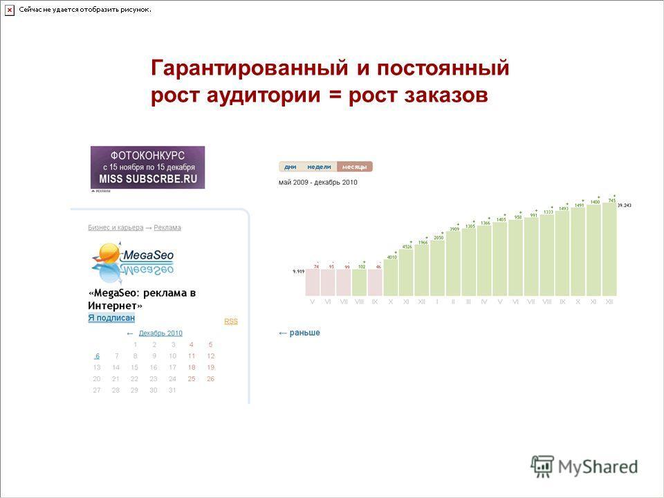 Гарантированный и постоянный рост аудитории = рост заказов