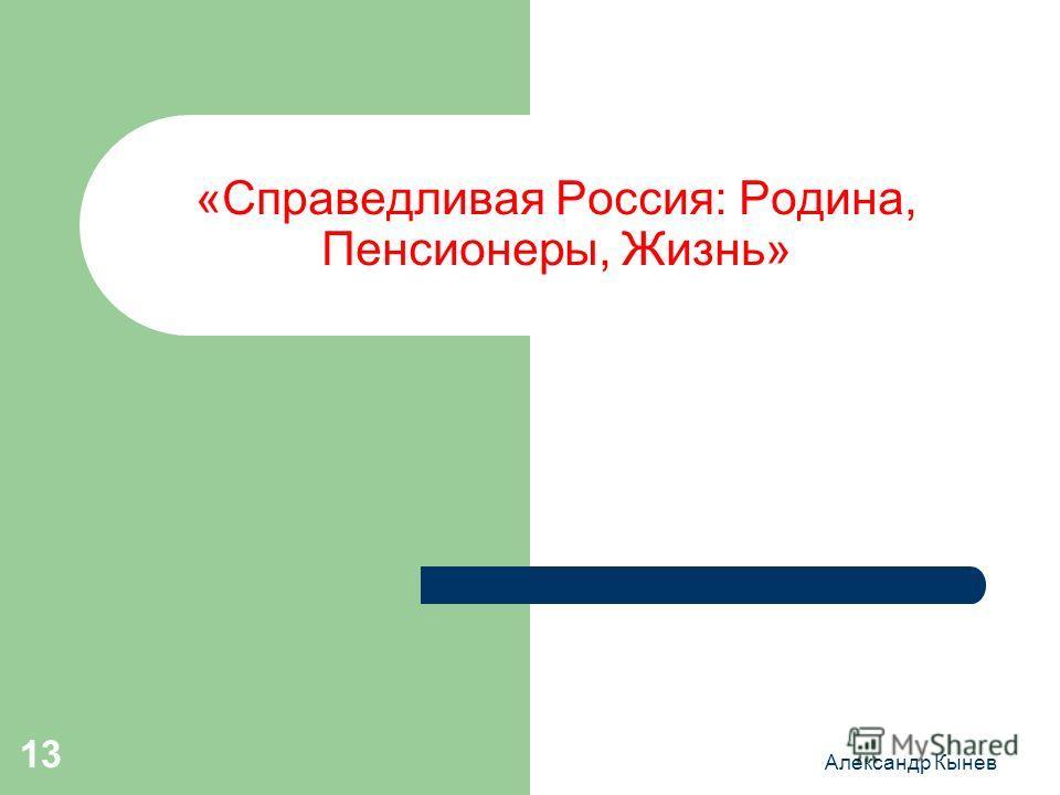 Александр Кынев 13 «Справедливая Россия: Родина, Пенсионеры, Жизнь»