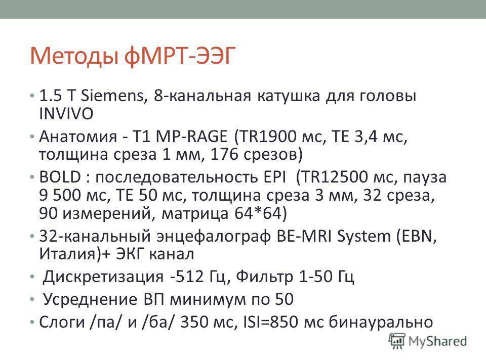 Методы фМРТ-ЭЭГ 1.5 T Siemens, 8-канальная катушка для головы INVIVO Анатомия - Т1 MP-RAGE (TR1900 мс, TE 3,4 мс, толщина среза 1 мм, 176 срезов) BOLD : последовательность EPI (TR12500 мс, пауза 9 500 мс, TE 50 мс, толщина среза 3 мм, 32 среза, 90 из