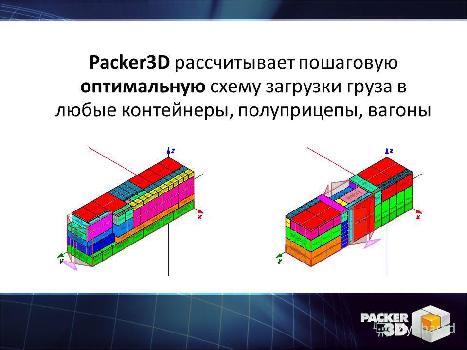 Packer3D рассчитывает пошаговую оптимальную схему загрузки груза в любые контейнеры, полуприцепы, вагоны