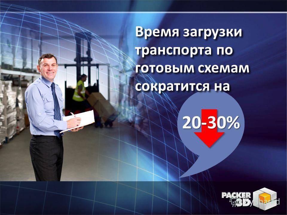 20-30% Время загрузки транспорта по готовым схемам сократится на