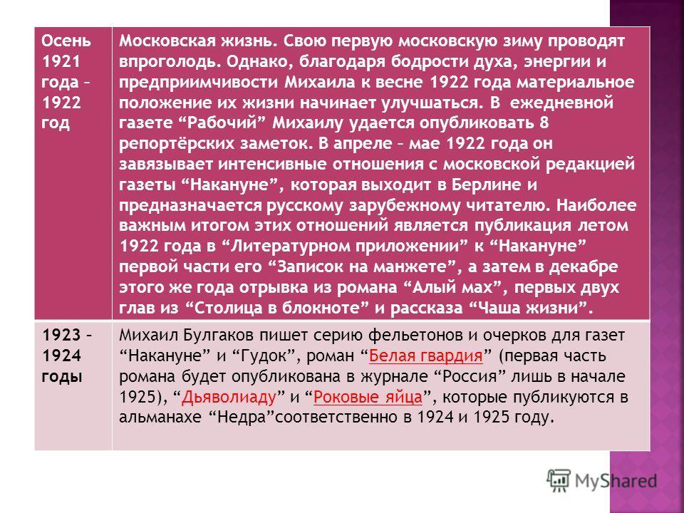 Осень 1921 года – 1922 год Московская жизнь. Свою первую московскую зиму проводят впроголодь. Однако, благодаря бодрости духа, энергии и предприимчивости Михаила к весне 1922 года материальное положение их жизни начинает улучшаться. В ежедневной газе