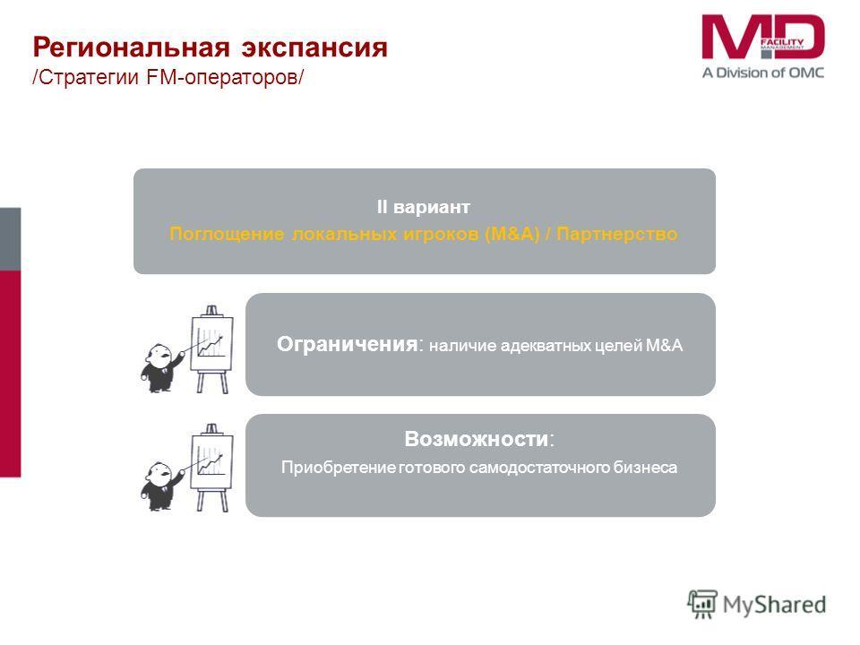 II вариант Поглощение локальных игроков (M&A) / Партнерство Ограничения: наличие адекватных целей M&A Возможности: Приобретение готового самодостаточного бизнеса Региональная экспансия /Стратегии FM-операторов/
