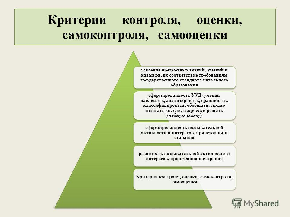 Критерии контроля, оценки, самоконтроля, самооценки усвоение предметных знаний, умений и навыков, их соответствие требованиям государственного стандарта начального образования сформированность УУД (умения наблюдать, анализировать, сравнивать, классиф