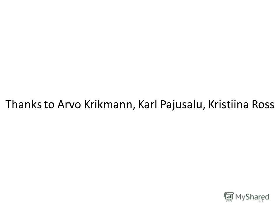 Thanks to Arvo Krikmann, Karl Pajusalu, Kristiina Ross 24