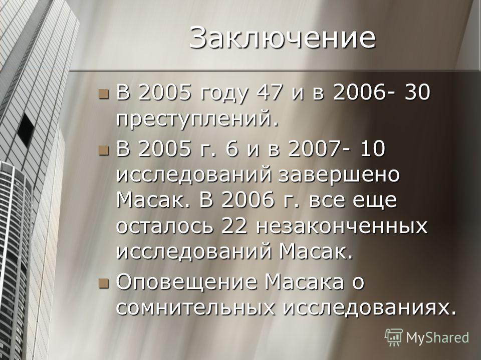 Заключение В 2005 году 47 и в 2006- 30 преступлений. В 2005 году 47 и в 2006- 30 преступлений. В 2005 г. 6 и в 2007- 10 исследований завершено Масак. В 2006 г. все еще осталось 22 незаконченных исследований Масак. В 2005 г. 6 и в 2007- 10 исследовани