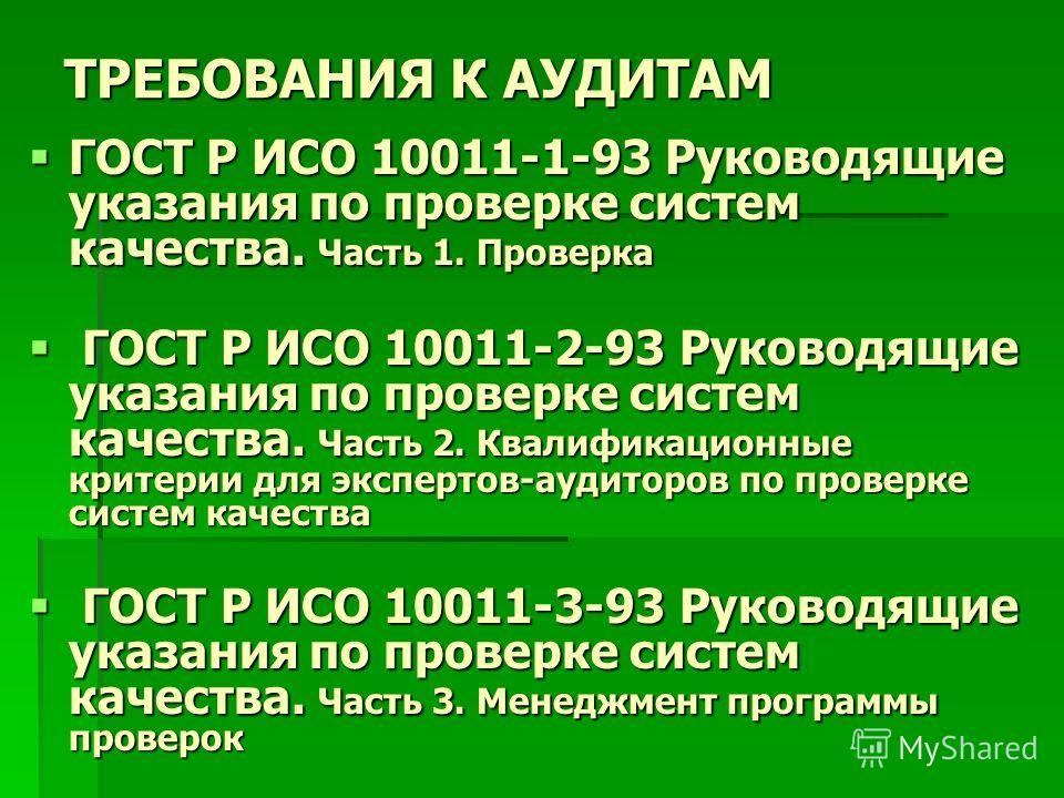 ТРЕБОВАНИЯ К АУДИТАМ ГОСТ Р ИСО 10011-1-93 Руководящие указания по проверке систем качества. Часть 1. Проверка ГОСТ Р ИСО 10011-1-93 Руководящие указания по проверке систем качества. Часть 1. Проверка ГОСТ Р ИСО 10011-2-93 Руководящие указания по про