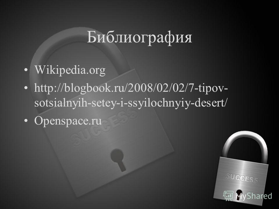 Библиография Wikipedia.org http://blogbook.ru/2008/02/02/7-tipov- sotsialnyih-setey-i-ssyilochnyiy-desert/ Openspace.ru