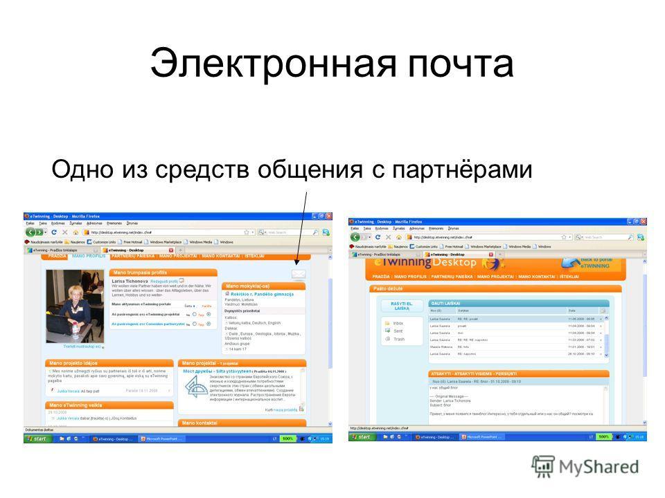 Электронная почта Одно из средств общения с партнёрами