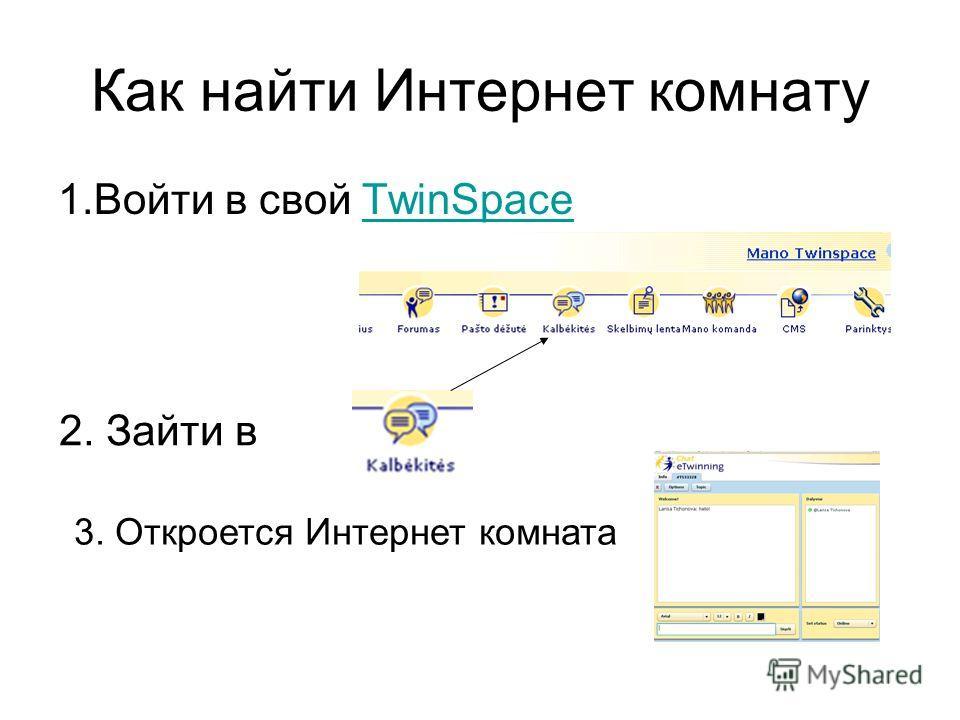 Как найти Интернет комнату 1.Войти в свой TwinSpaceTwinSpace 2. Зайти в 3. Откроется Интернет комната