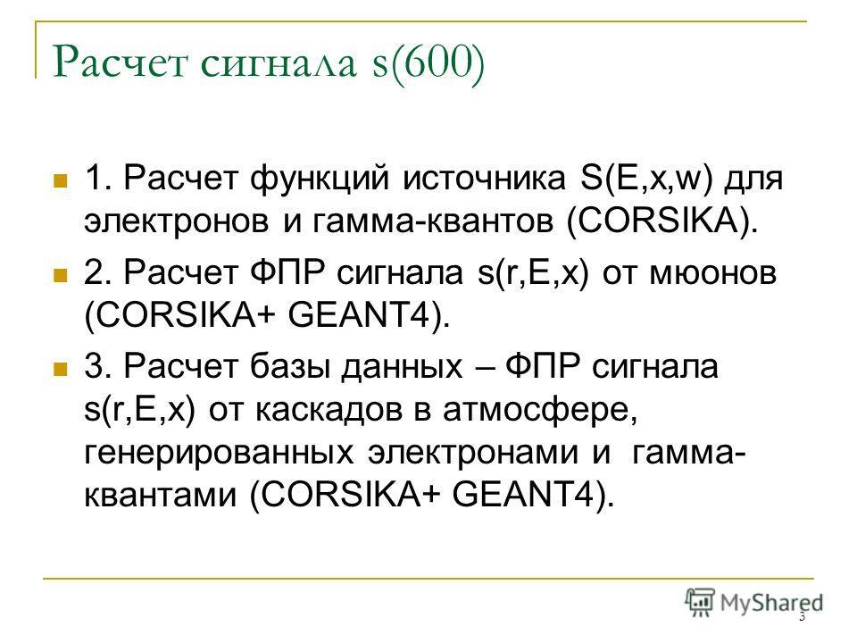 3 Расчет сигнала s(600) 1. Расчет функций источника S(E,x,w) для электронов и гамма-квантов (CORSIKA). 2. Расчет ФПР сигнала s(r,E,x) от мюонов (CORSIKA+ GEANT4). 3. Расчет базы данных – ФПР сигнала s(r,E,x) от каскадов в атмосфере, генерированных эл
