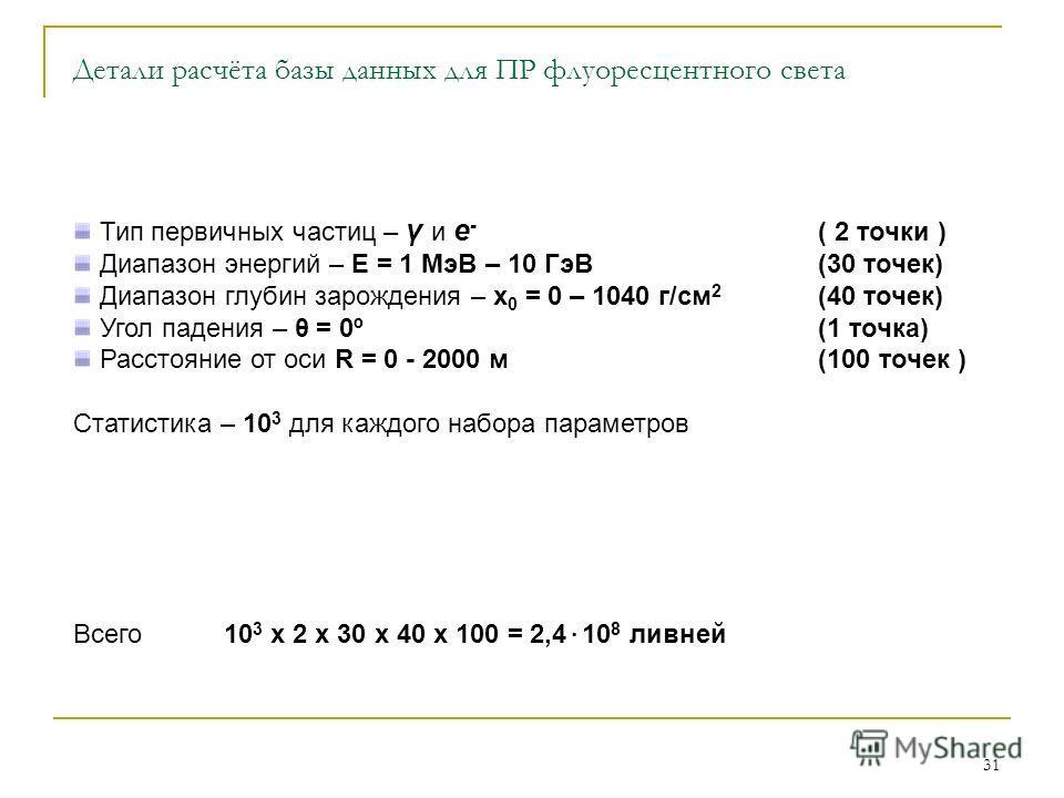 31 Детали расчёта базы данных для ПР флуоресцентного света Тип первичных частиц – γ и e - ( 2 точки ) Диапазон энергий – E = 1 МэВ – 10 ГэВ(30 точек) Диапазон глубин зарождения – x 0 = 0 – 1040 г/см 2 (40 точек) Угол падения – θ = 0º (1 точка) Рассто