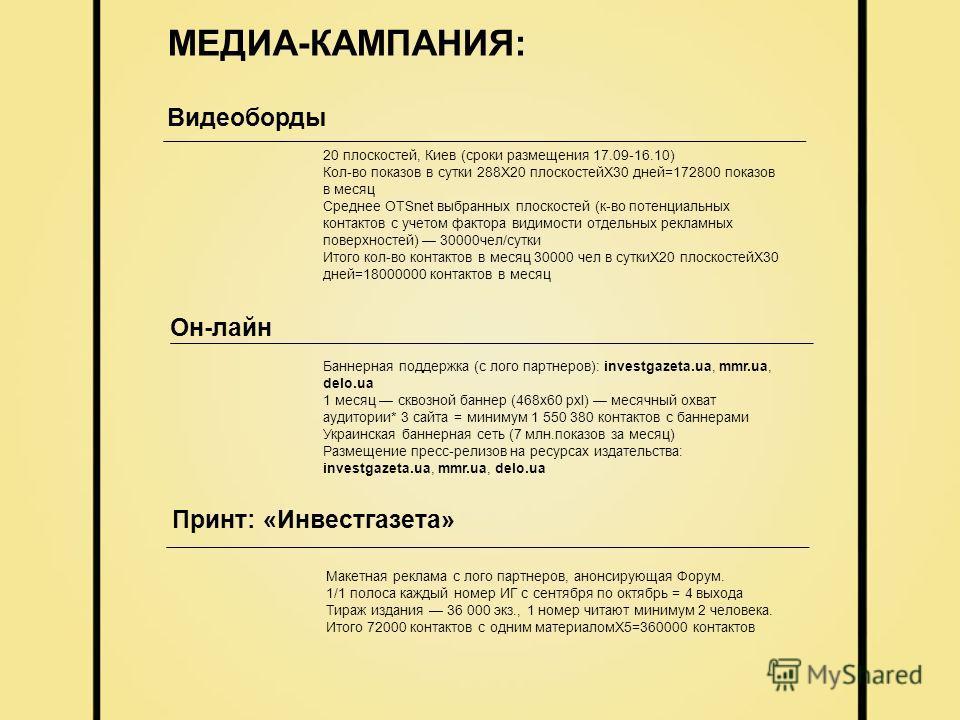 МЕДИА-КАМПАНИЯ: 20 плоскостей, Киев (сроки размещения 17.09-16.10) Кол-во показов в сутки 288Х20 плоскостейХ30 дней=172800 показов в месяц Среднее OTSnet выбранных плоскостей (к-во потенциальных контактов с учетом фактора видимости отдельных рекламны