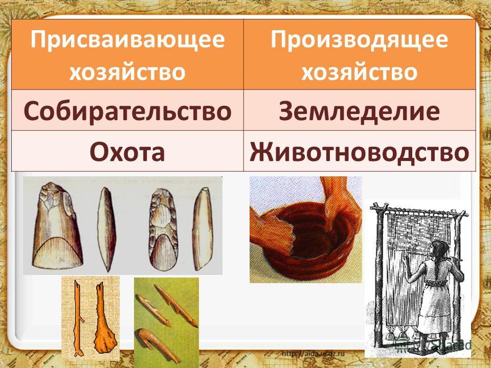 Присваивающее хозяйство Производящее хозяйство СобирательствоЗемледелие ОхотаЖивотноводство
