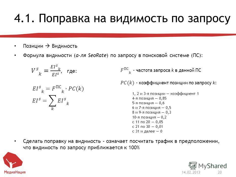 4.1. Поправка на видимость по запросу Позиции Видимость Формула видимости (а-ля SeoRate) по запросу в поисковой системе (ПС): Сделать поправку на видимость – означает посчитать трафик в предположении, что видимость по запросу приближается к 100% 14.0
