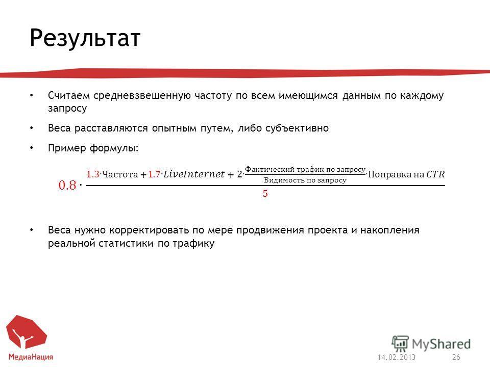 Результат 14.02.201326