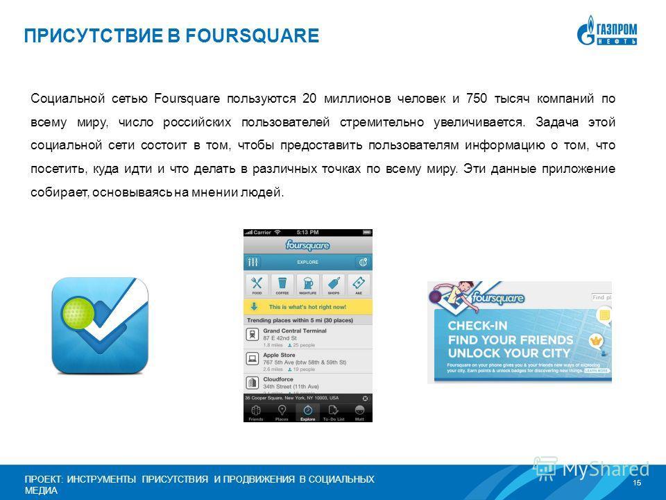 15 ПРОЕКТ: ИНСТРУМЕНТЫ ПРИСУТСТВИЯ И ПРОДВИЖЕНИЯ В СОЦИАЛЬНЫХ МЕДИА Социальной сетью Foursquare пользуются 20 миллионов человек и 750 тысяч компаний по всему миру, число российских пользователей стремительно увеличивается. Задача этой социальной сети