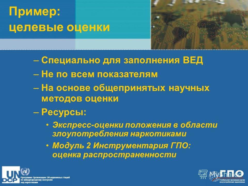 Программа Организации Объединенных Наций по международному контролю над наркотиками Глобальная программа оценки злоупотребления наркотиками Пример: целевые оценки –Специально для заполнения ВЕД –Не по всем показателям –На основе общепринятых научных