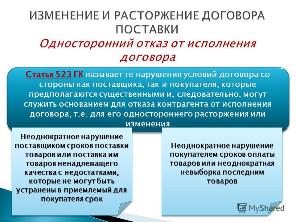 Статья 523 ГК Статья 523 ГК называет те нарушения условий договора со стороны как поставщика, так и покупателя, которые предполагаются существенными и, следовательно, могут служить основанием для отказа контрагента от исполнения договора, т.е. для ег