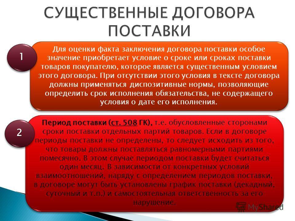 Для оценки факта заключения договора поставки особое значение приобретает условие о сроке или сроках поставки товаров покупателю, которое является существенным условием этого договора. При отсутствии этого условия в тексте договора должны применяться