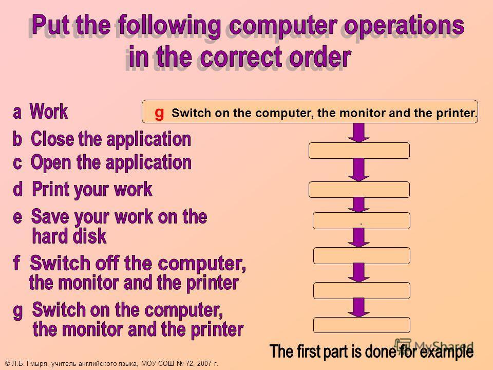 g Switch on the computer, the monitor and the printer.. © Л.Б. Гмыря, учитель английского языка, МОУ СОШ 72, 2007 г.