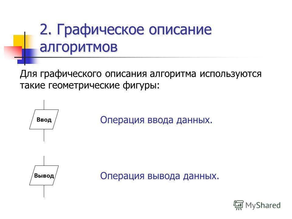 2. Графическое описание алгоритмов Для графического описания алгоритма используются такие геометрические фигуры: ВводВывод Операция ввода данных. Операция вывода данных.