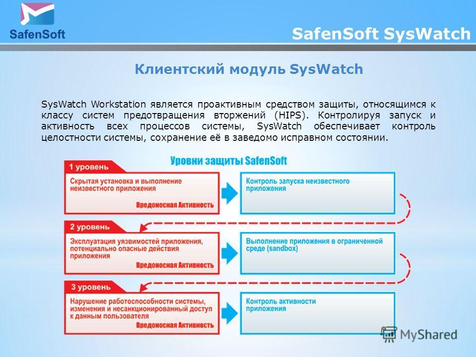 SafenSoft SysWatch Клиентский модуль SysWatch SysWatch Workstation является проактивным средством защиты, относящимся к классу систем предотвращения вторжений (HIPS). Контролируя запуск и активность всех процессов системы, SysWatch обеспечивает контр