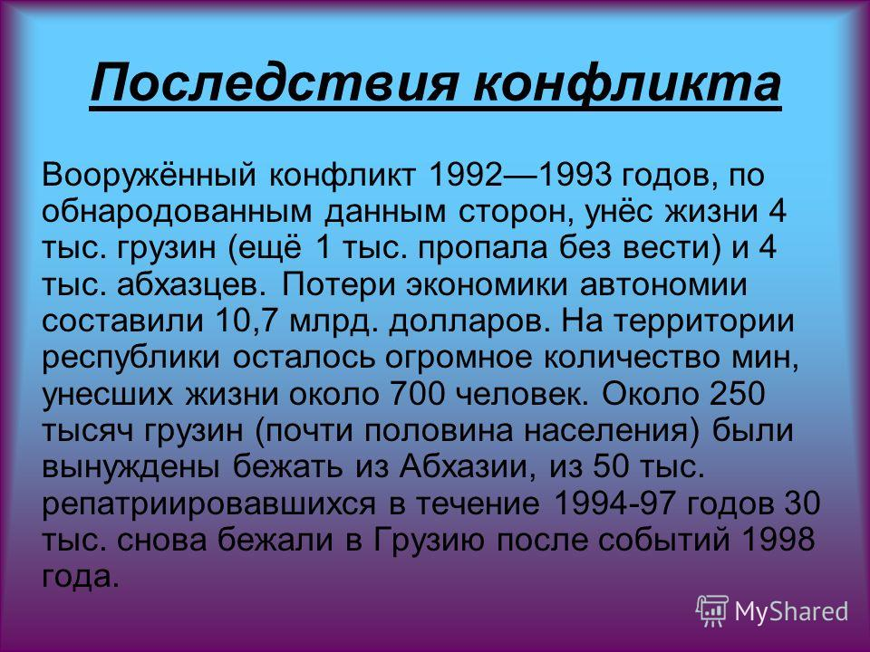 Последствия конфликта Вооружённый конфликт 19921993 годов, по обнародованным данным сторон, унёс жизни 4 тыс. грузин (ещё 1 тыс. пропала без вести) и 4 тыс. абхазцев. Потери экономики автономии составили 10,7 млрд. долларов. На территории республики