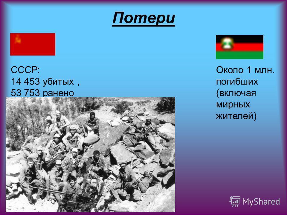 Потери СССР: 14 453 убитых, 53 753 ранено Около 1 млн. погибших (включая мирных жителей)