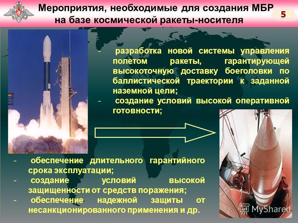 Слайд 4 Мероприятия, необходимые для создания МБР на базе космической ракеты-носителя 55 - разработка новой системы управления полетом ракеты, гарантирующей высокоточную доставку боеголовки по баллистической траектории к заданной наземной цели; - соз