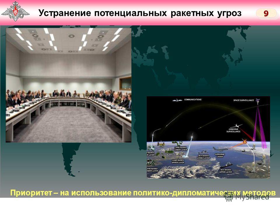 Слайд 6 Устранение потенциальных ракетных угроз 99 Приоритет – на использование политико-дипломатических методов
