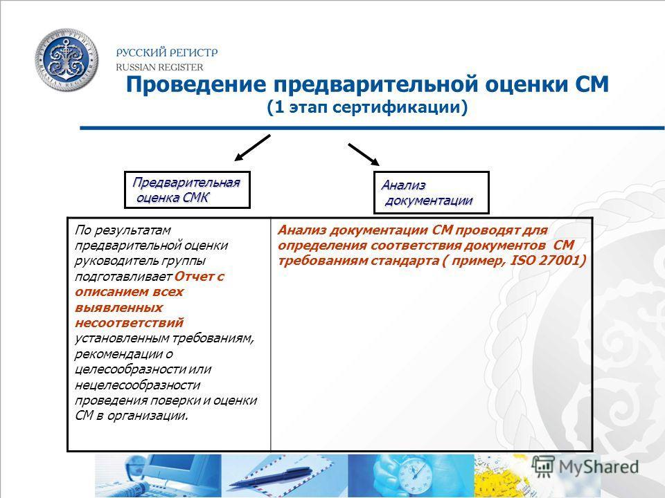 Проведение предварительной оценки СМ (1 этап сертификации) По результатам предварительной оценки руководитель группы подготавливает Отчет с описанием всех выявленных несоответствий установленным требованиям, рекомендации о целесообразности или нецеле