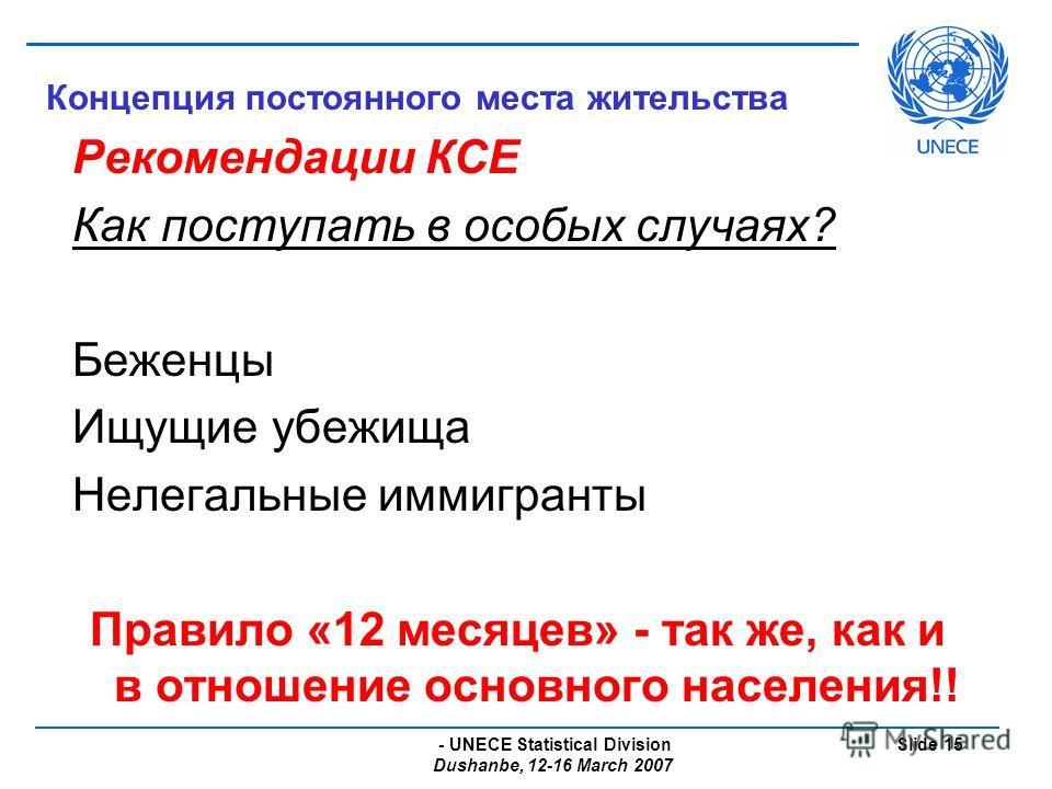 - UNECE Statistical Division Dushanbe, 12-16 March 2007 Slide 15 Концепция постоянного места жительства Рекомендации КСЕ Как поступать в особых случаях? Беженцы Ищущие убежища Нелегальные иммигранты Правило «12 месяцев» - так же, как и в отношение ос
