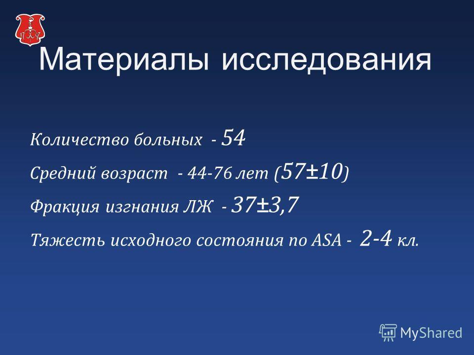 Материалы исследования Количество больных - 54 Средний возраст - 44-76 лет ( 57±10 ) Фракция изгнания ЛЖ - 37±3,7 Тяжесть исходного состояния по ASA - 2-4 кл.